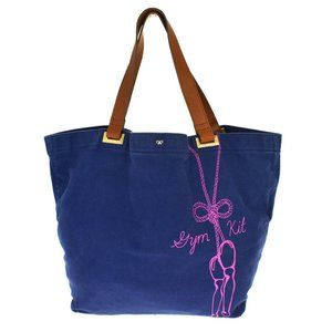 Anya Hindmarch Canvas,Leather Tote Bag Navy